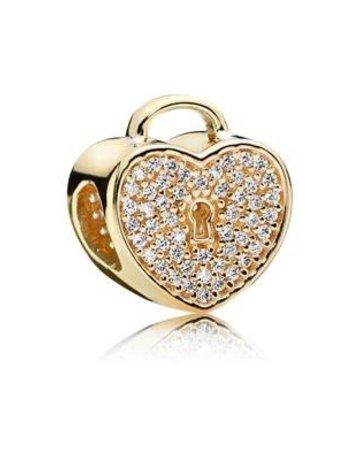 Pandora PANDORA Charm, 14k Heart Lock, Clear CZ