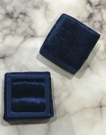 Bride Box Mini Velvet Lux Navy Blue Ring Box