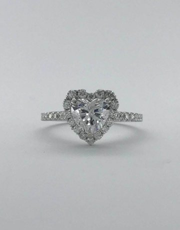 American Jewelry 14K White Gold 1.41CTW (1.02ct G/I1 Heart ) HEART HALO ENGAGEMENT RING