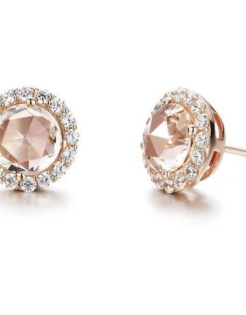 Lafonn Lafonn Halo Stud Earrings, Simulated Morganite & Diamonds 3.04ctw, Rose Gold Plated Sterling Silver