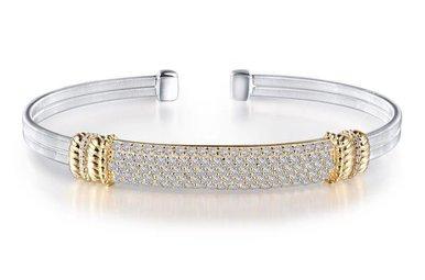 "Lafonn Milano Cuff Bracelet Simulated Diamonds & Sterling Silver - 7.25"""