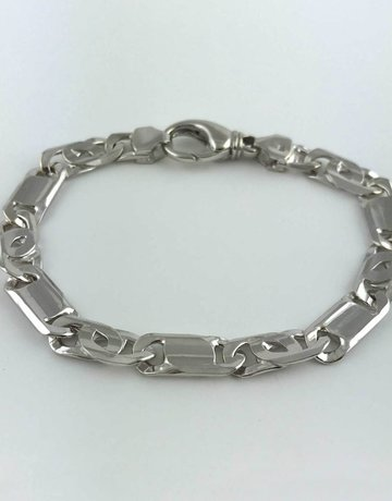 """14k White Gold Polished Fancy Link Men's Bracelet 8"""""""