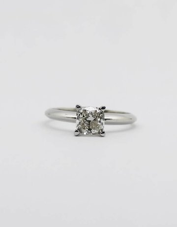 American Jewelry 14k White Gold 1ct J/I1 Cushion Cut Diamond Solitaire Engagement Ring, Size 6
