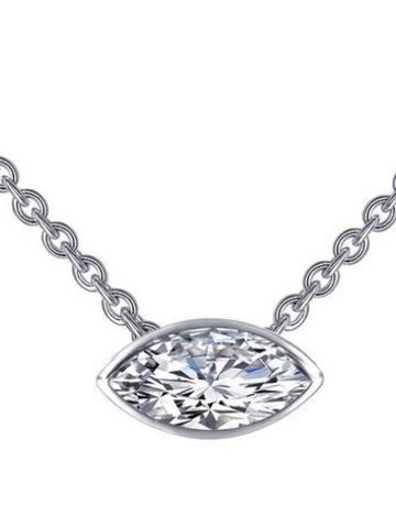 Lafonn Lafonn 1.2cttw 2 Stone Marquise Bezel Adjustable Necklace Choker
