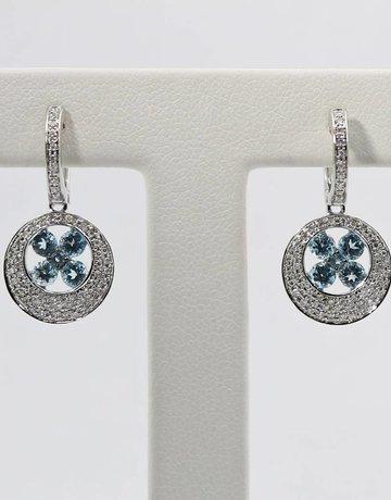 American Jewelry 14k White Gold 1.11ctw Round Blue Topaz & .28ctw Diamond Dangle Earrings