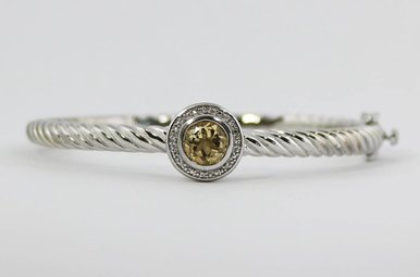 Sterling Silver & Stainless Citrine & Diamond Ladies Bangle Bracelet