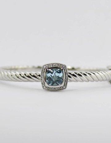 American Jewelry Sterling Silver & Stainless Blue Topaz & Diamond Ladies Bangle Bracelet