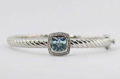 Sterling Silver & Stainless Blue Topaz & Diamond Ladies Bangle Bracelet
