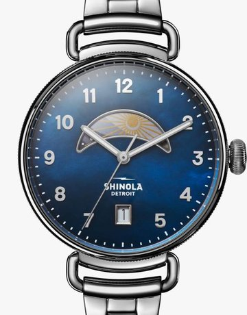 Shinola Shinola Canfield Day & Night 38mm, Navy Blue MOP Dial, Polished Bracelet Watch