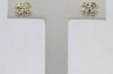 14ky Cubic Zirconia Flower Stud Earrings