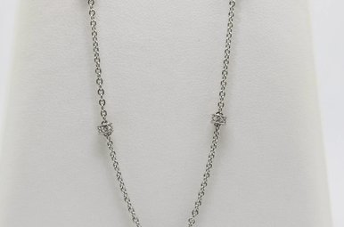 Sterling Silver Diamond Accent Station Necklace