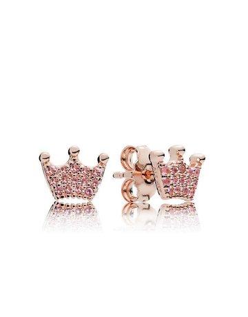 Pandora PANDORA Rose Stud Earrings, Enchanted Crowns, Orchid & Pink Crystals