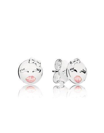 Pandora Retired - PANDORA Stud Earrings, Playful Wink, Pink Glitter Enamel