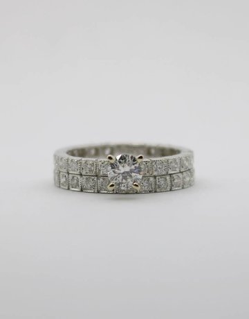 American Jewelry 14k White Gold .41ct-Ctr 1.42ctw Round Brilliant Diamond Eternity Engagement Wedding Set (Size 6)