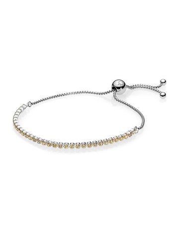 Pandora Retired - PANDORA Sparkling Strand Bracelet, Golden-Colored CZ - 25 cm / 9.8 in