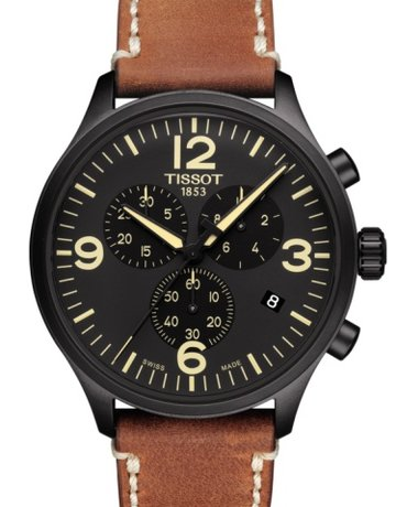 Tissot Tissot T-Sport Chrono XL Gents Watch with Black Dial & Brown Leather Strap