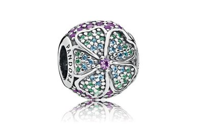 Retired - PANDORA Charm, Glorious Bloom, Multi-Colored CZ