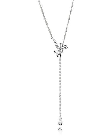 Pandora Retired - PANDORA Necklace, Dreamy Dragonfly, Clear CZ - 65 cm / 25.6 in