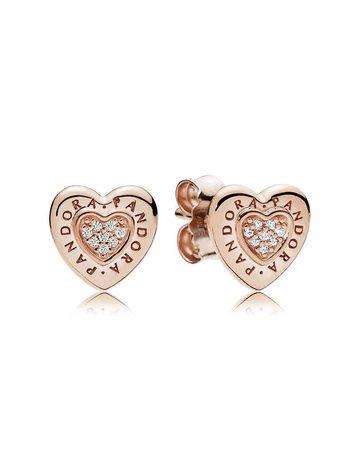 Pandora Retired - PANDORA Rose Stud Earrings, Signature Heart, Clear CZ