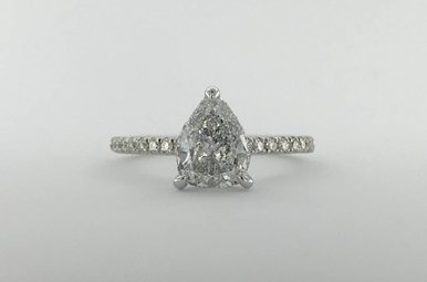 18k White Gold1.36ctw  (1.01ct E/SI3 Pear) Diamond Invisible Gallery Engagement Ring (Size 6)