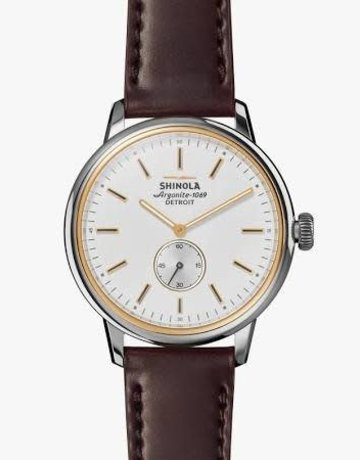 Shinola Shinola Bedrock Watch 42mm White Dial with Oxblood Cordovan Leather Strap
