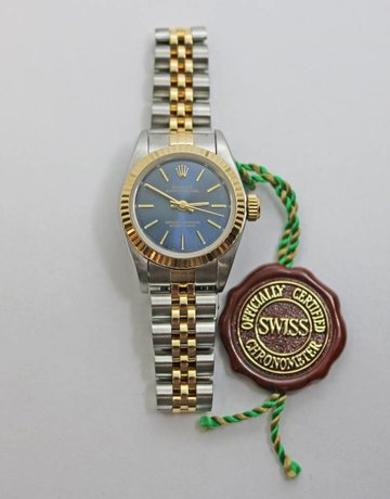 American Jewelry Ladies 18ky & Stainless Steel Preowned Rolex with Blue Dial & Jubilee Band