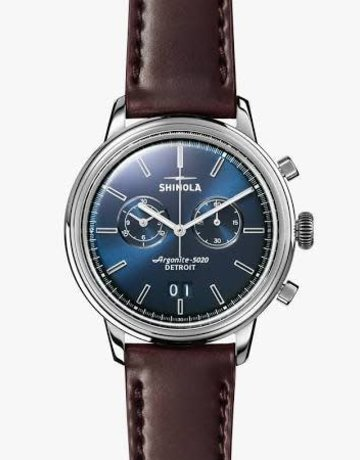 Shinola Shinola Bedrock Chrono 42mm Blue Dial with Oxblood Leather Strap