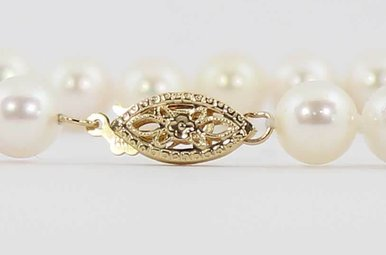 "14K Yellow Gold 7"" 6.5-7mm Akoya Pearl Strand Bracelet"