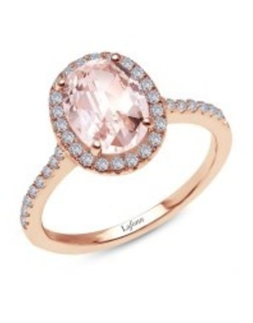 Lafonn Lafonn Sterling Silver Rose Gold Tone 2.26 cttw 21 Stone Oval Morganite (size 6 and 7)