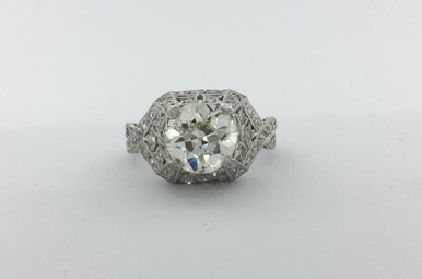 Platinum 2.57ctw (2ct J/VS1 Old Euro Cut Ctr) Diamond Vintage Engagment Ring