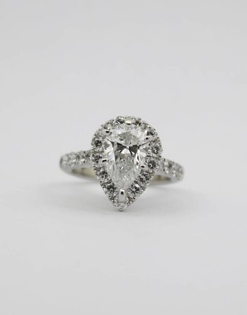 American Jewelry 14k White Gold 1.61ct G/SI1 Pear Diamond GIA 2.61ctw Round Brilliant Diamond Halo Engagement Ring (Size 3.5)