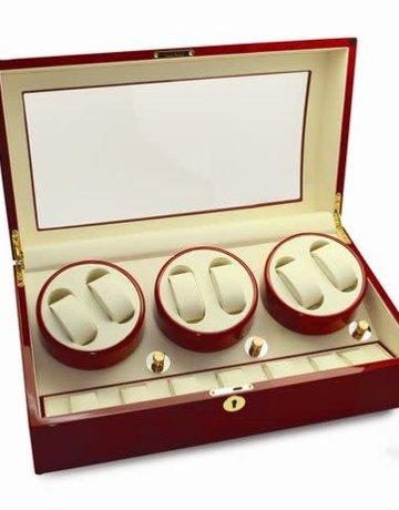 American Jewelry Burlwood Red Watch Winder (6 watches)