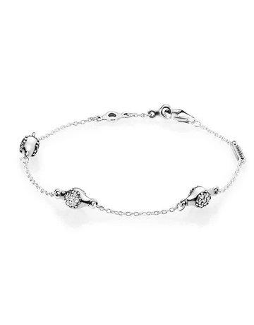 Pandora Retired - PANDORA Bracelet, Modern LovePods, Clear CZ - 18 cm / 7.1 in