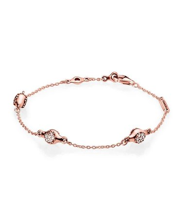 Pandora Retired - PANDORA Rose Bracelet, Modern LovePods, Clear CZ - 18 cm / 7.1 in