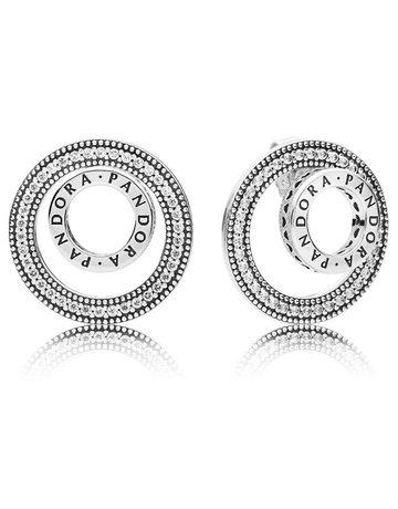Pandora PANDORA Earrings, Forever Signature, Clear CZ