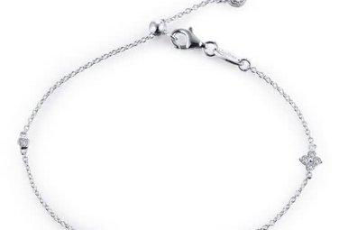 "Lafonn Sterling .55 cttw Stone Clover Bracelet Adjustable 7.5"""