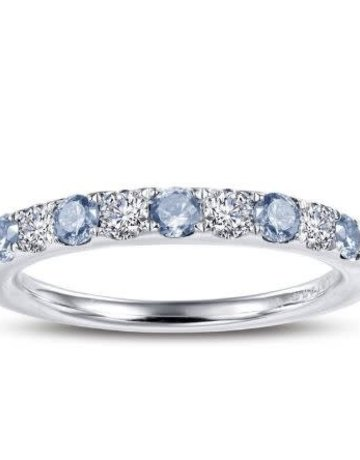 Lafonn Lafonn March Birthstone Band, Simulated Aquamarine & Diamonds .51ctw, Sterling Silver