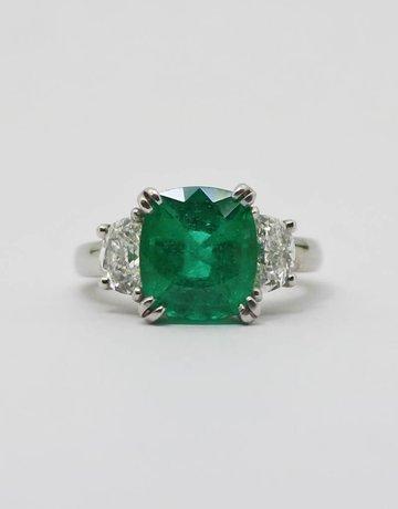 American Jewelry Platinum (3.78ct Cushion Cut Emerald GIA) 2ctw Halfmoon Diamond Engagement Ring (Size 6)