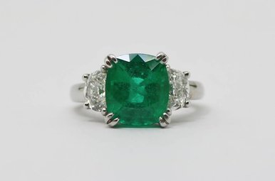 Platinum (3.78ct Cushion Cut Emerald GIA) 2ctw Halfmoon Diamond Engagement Ring (Size 6)