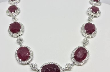 18k White Gold 57.75ct Ruby and 3ct Dia Necklace
