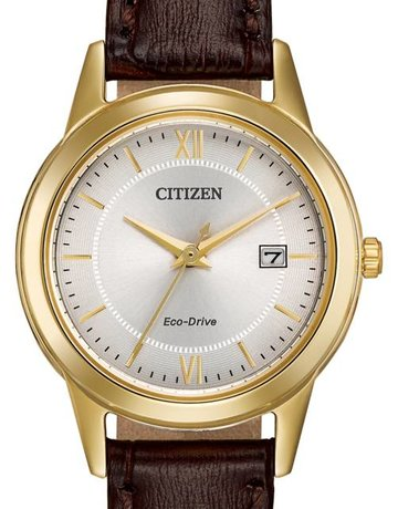 Citizen Citizen Eco-Drive Corso Ladies Gold Tone Watch with Silver Dial & Brown Leather Strap
