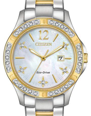 Citizen Citizen Eco-Drive Elektra Ladies Two-Tone Watch with Diamonds & Mother of Pearl Dial