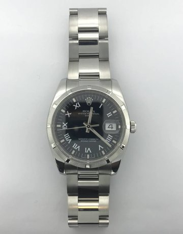 American Jewelry Rolex Stainless Oyster Perpetual Date 34mm Black Roman Numeral Dial