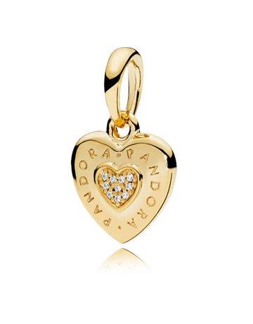Pandora Retired - PANDORA Shine Pendant, Signature Heart, Clear CZ