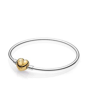 Pandora PANDORA Bangle, Sterling Silver w/ Shine Heart Logo Clasp - 17 cm / 6.7 in