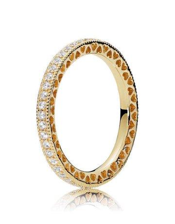 Pandora PANDORA Shine Ring, Hearts of PANDORA, Clear CZ - Size 54
