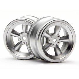 HPI HPI3815  Matte Chrome Vintage 5 Spoke Wheel, 26mm, 0mm Offset (2pcs)