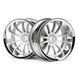 HPI HPI3285  Work XSA 02C Wheel, 26mm, Chrome/White, 9mm Offset (2pc)