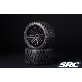 SWEEP C0002B Monster Truck Terrain Crusher Belted tire preglued on Black Wheels (2)