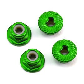 175RC 175-11045 Aluminum 4mm Serrated Locknuts (Green)